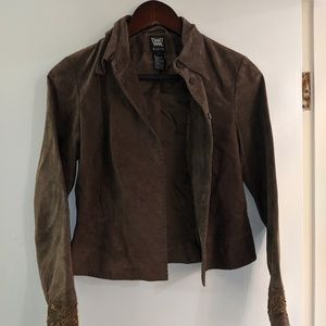 Worth brown leather jacket with beading